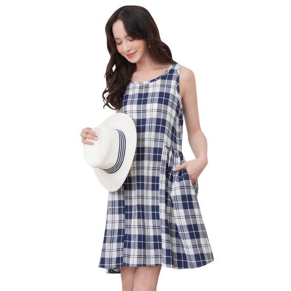 東京著衣-tokichoi-俏皮簡約清新格紋配色短洋裝-S.M.L(190830)