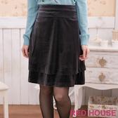 【RED HOUSE-蕾赫斯】絨布雙層及膝裙(灰色)