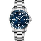 LONGINES 浪琴 深海征服者浪鬼陶瓷潛水機械錶-藍x銀/41mm L37814966