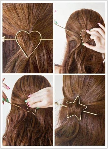 來福妹髮插,H581髮簪縷空五角星愛心箭頭造型髮簪髮插髮釵髪飾,售價99元
