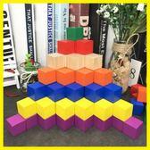 木制立方體1-8cm原木積木塊益智玩具正方形方塊 居享優品