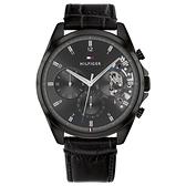 【台南 時代鐘錶 Tommy Hilfiger】1710452 都會雅痞風格 日期顯示 三眼鏤空 皮革錶帶男錶 黑 43.5mm