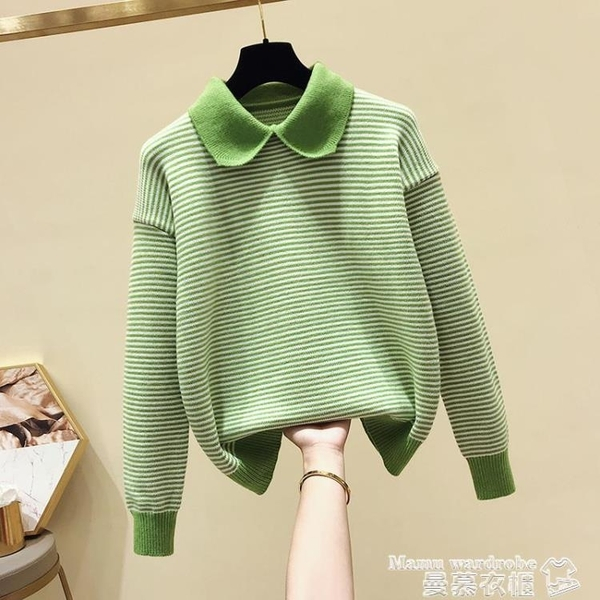 娃娃領上衣 毛衣女寬鬆套頭慵懶風2020新款秋季韓版時尚娃娃領條紋針織衫上衣 雙11