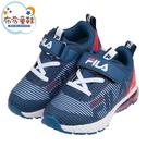 《布布童鞋》FILA質感立體紋氣墊藍白紅橡膠底兒童運動鞋(16~22公分) [ P1D123B ]