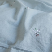 色織水洗棉 刺繡被套(薄) 雙人【淺青藍 x 小花】長絨棉 透氣親膚 mix&match