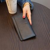 長皮夾歐美大牌簡約超薄長款錢包女真皮新款氣質搭扣卡位軟牛皮錢夾 艾維朵