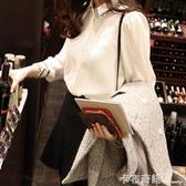 大碼白襯衣女秋冬裝加絨加厚保暖長袖襯衫休閒上衣小衫寬鬆打底衫 卡布奇诺