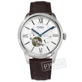 FOSSIL / ME3167 / 機械錶 自動上鍊 鏤空機芯 礦石強化玻璃 日本機芯 真皮手錶 白x深褐 44mm