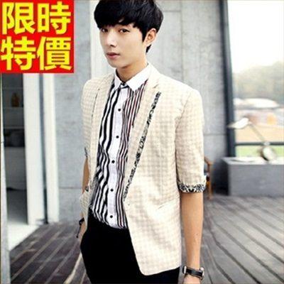 西裝外套-韓版時尚格紋七分袖薄款亞麻外套2色68q39【巴黎精品】