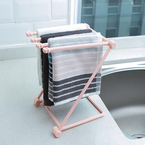 立式抹布掛架 廚房 家用 抹布架 毛巾掛架 可折疊 桌面收納架 置物架 【L53-1】♚MY COLOR♚