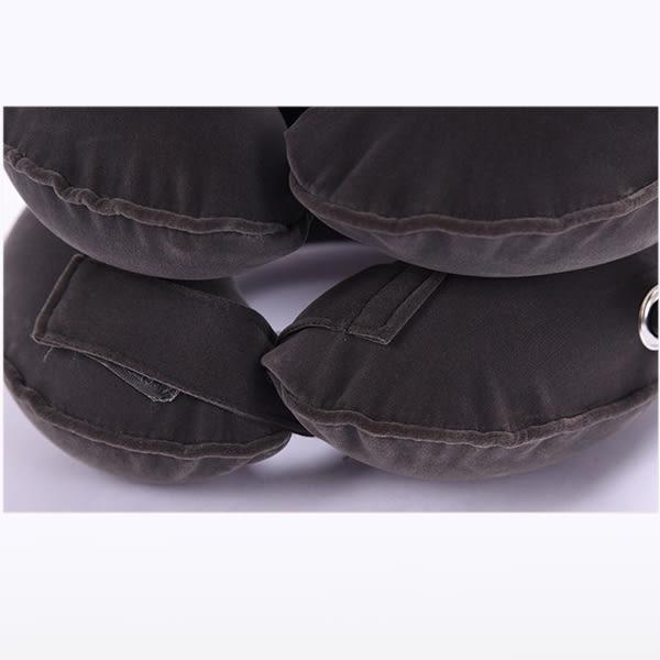 三層三管全絨頸椎伸展器 灰色 一入 頸椎牽引器 舒療釋壓枕 旅行枕 充氣頸枕【小紅帽美妝】