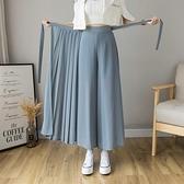 壓褶雪紡半身裙褲女夏季2021新款韓版高腰中長款大碼鬆緊腰休閒褲 幸福第一站
