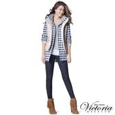 Victoria 低腰配線提臀燙鑽窄管褲-女-深藍-VW2227