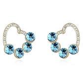 水晶耳環 925純銀(耳針式)-鑲鑽質感生日情人節禮物女飾品5色73bd125【時尚巴黎】