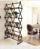 實木時尚隔斷辦公室客廳玄關置物展示架美式創意復古鐵藝屏風ATF 錢夫人小舖