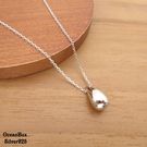 §海洋盒子§質感立體亮面水滴造型925純銀項鍊 (925純銀外鍍專櫃級正白k)