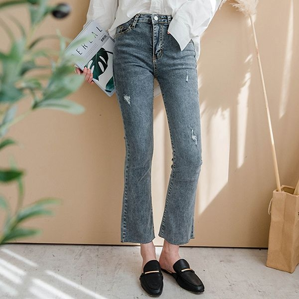 MIUSTAR煙灰色高腰刷破褲腳微喇叭牛仔褲(共1色,S-XL)【NH0655】預購