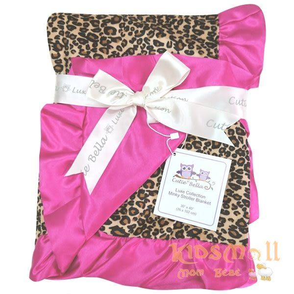 Cutie Bella 超柔軟頂級攜帶毯Leopard-Fuchsia