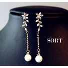 耳環 韓國氣質珍珠優雅水鑽花朵精緻長款垂...