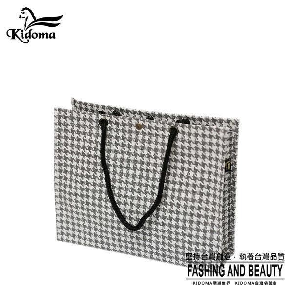 手提袋-編織袋(L)-灰白千鳥-01C