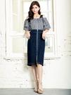春夏7折[H2O]吊帶可拆超顯瘦彈性牛仔鉛筆中長裙 - 深藍/淺藍色 #0684005