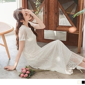 《DA7910》輕婚紗.韓系女神蕾絲雕花V領邊花長洋裝--適 XL~6L OrangeBear