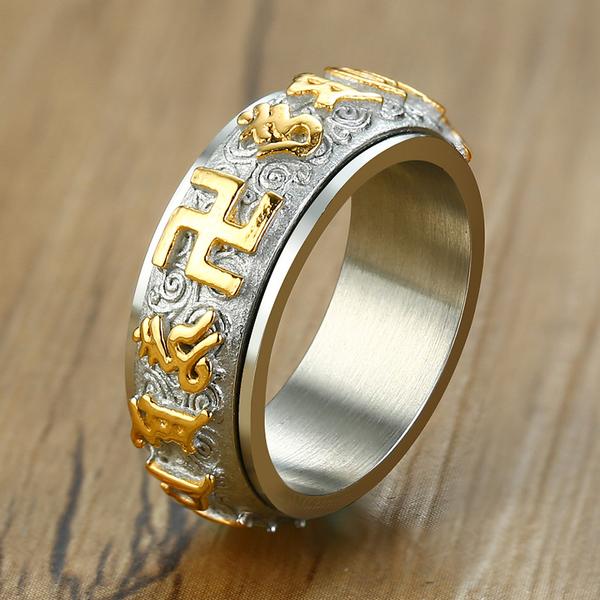 六字真言戒指 Z.MO鈦鋼屋 中性戒指 宗教 保平安 祈福轉運 卍字 白鋼戒指 【BGS484】單個價
