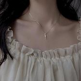 s925銀長條項鍊女潮韓版鎖骨鍊簡約氣質飾品【倪醬小舖】