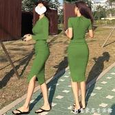 性感緊身包臀洋裝 修身長袖子褶皺長款過膝t恤裙女夏顯瘦長裙潮 創意家居生活館