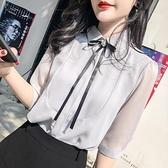雪紡衫 女士雪紡襯衫女裝夏裝2021新款潮上衣女人味氣質洋氣小衫短袖襯衣