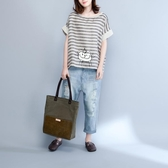 夏裝文藝棉麻t恤女裝 短袖大尺碼 寬鬆印花條紋百搭亞麻上衣