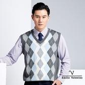 【Emilio Valentino】學院風時尚羊毛休閒背心 - 灰/藍