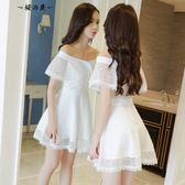 蓬蓬裙性感蕾絲露肩白色一字肩連身裙