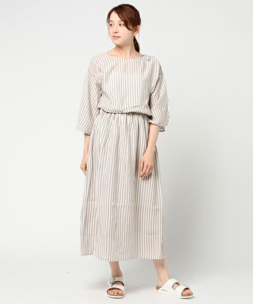 ❖ Hot item ❖ 2WAY彩色花柄/直條紋收腰五分袖洋裝 (提醒➯SM2僅單一尺寸) - Sm2