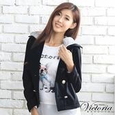 Victoria 可拆帽針織外套-女-紅/黑