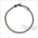BOTTEGA VENETA 純手工編織單環小羊皮鉤式手環(XS/S/M/淺褐/灰鉤環)