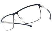Ic! Berlin 光學眼鏡 TOMMY G. BLUE CHROME (藍-銀) 輕量工藝紳士眉框款 薄鋼眼鏡 # 金橘眼鏡