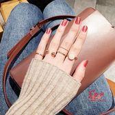 指環套裝 金色網紅套裝冷淡風潮人尾戒個性環學生大氣食指戒小眾設計戒指女
