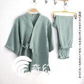日系睡衣-水洗棉 和服 扎腳睡衣女家居服長褲套裝汗蒸鹽蒸服美容養生服-奇幻樂園
