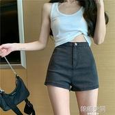 黑色牛仔短褲女2021年夏季薄款網紅超火高腰顯瘦a字寬管褲熱褲潮