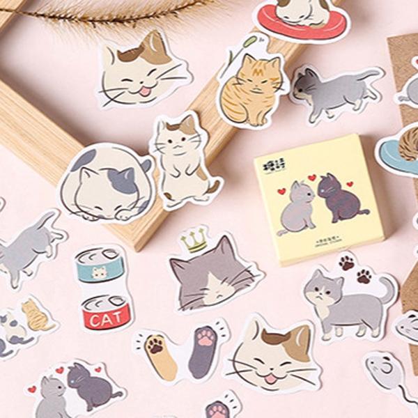 【BlueCat】糖詩擄貓日記盒裝貼紙(45枚入)
