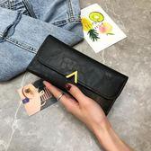 新款女士手拿錢包女長款日韓小清新多功能搭扣復古薄零錢包潮
