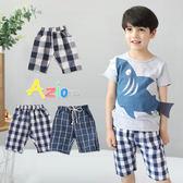 童裝 短褲 虛線/單釦/雙色格紋雙口袋鬆緊短褲(共3款)