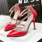 性感尖頭高跟鞋 鉚釘一字帶漆皮百搭顯瘦鞋【多多鞋包店】z7006