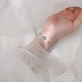 手鍊 925純銀藍色泡沫魚尾手鍊森系小眾設計閨蜜女漸凍人冷淡風