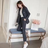 全網批發價西服套裝經典復古格子雙排扣加厚西裝女裝 休閑女西裝套裝ZL511-A朵維思