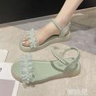 平底涼鞋 珍珠涼鞋女仙女風新款學生防滑舒適軟底輕便沙灘羅馬平底鞋 韓菲兒