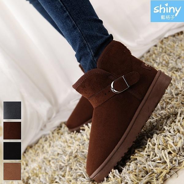 【V8978】shiny藍格子-百搭時尚.冬季防滑保暖短筒雪地平底短靴
