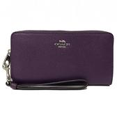 【COACH】素面手掛式拉鍊零錢袋長夾(鬱金香紫)