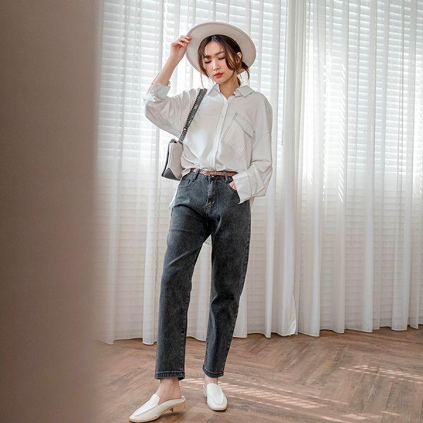 MIUSTAR 每件衣服都可以搭這條褲子!素面附皮帶男友褲(共7色,S-XL)【NJ0204】預購